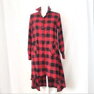 Red Black Plaid Christmas Holiday Dress
